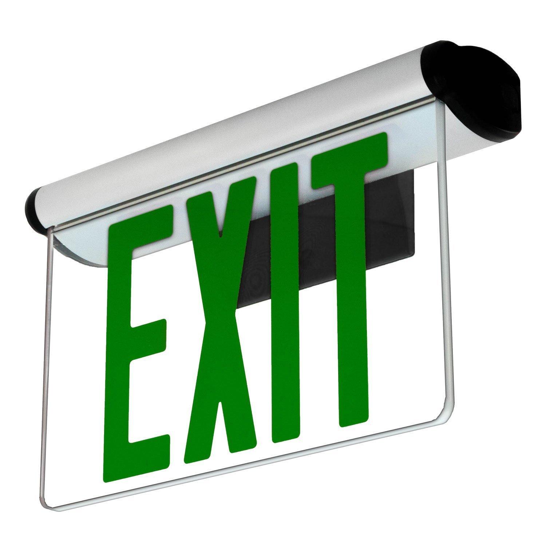 LFI Lights - UL Certified - Hardwired Edge Light Green LED Exit Sign - Rotating Panel - Battery Backup - ELRTG