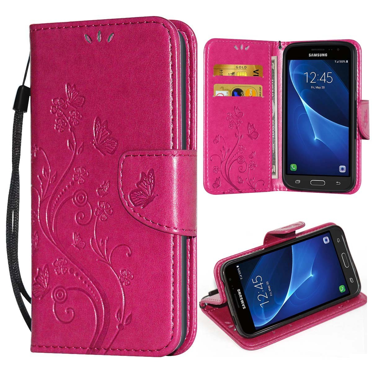 i-Dawn Premium Wallet Leather Flip Protective Case with Wristlet Lanyard and Kickstand for Samsung Galaxy J3(2016) & Galaxy J3(2015) Rose