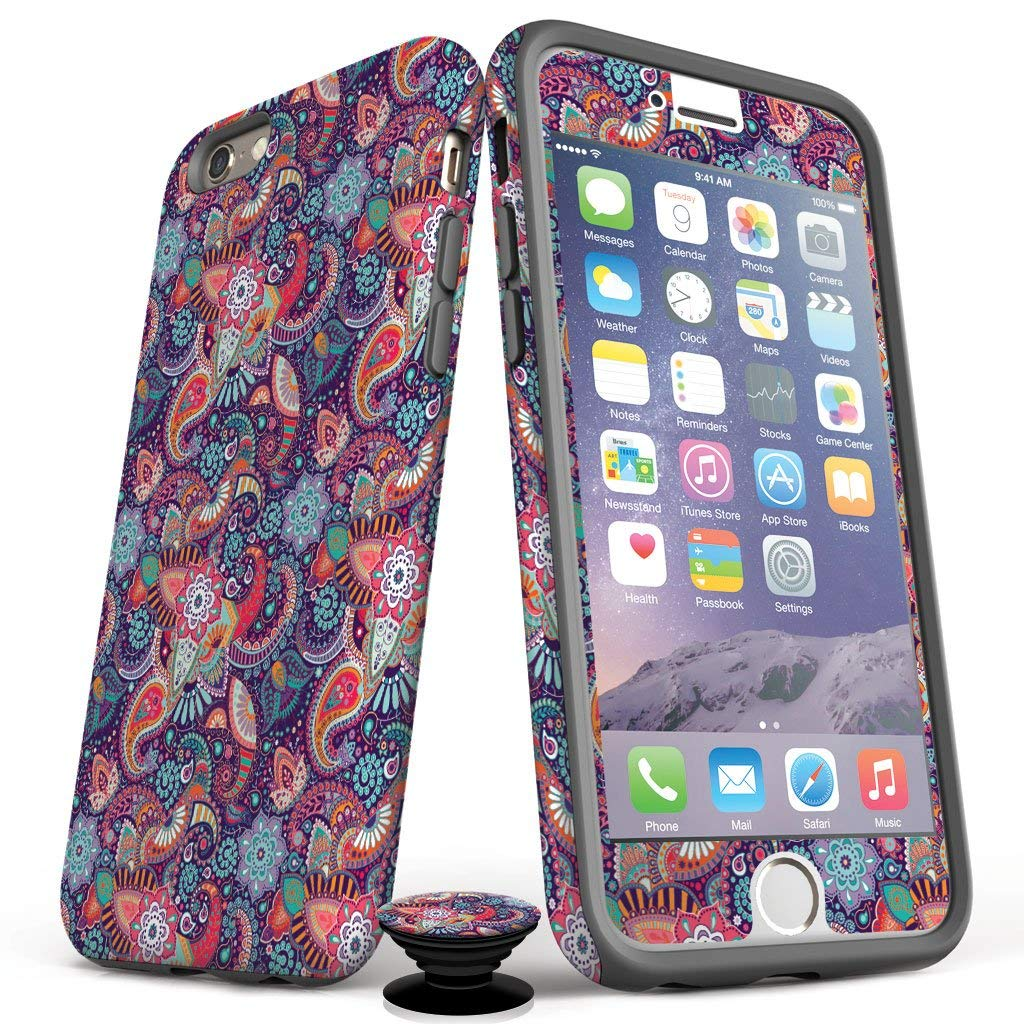 Phone Accessory Bundle for iPhone 7/8 Plus - Screen Protector, Matte iPhone Case, and Cell Phone Grip with Purple Paisley Design by Screenflair