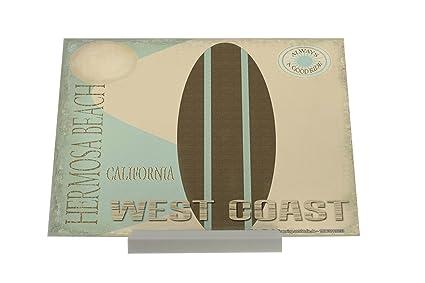Soporte Fotografias Retro Deco Tabla de surf de la costa oeste de California de Hermosa Beach