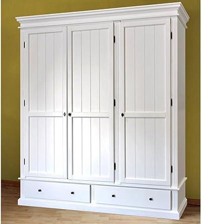 Armario de madera de pino para dormitorio, 65 x 220 x 190 cm, color blanco: Amazon.es: Hogar