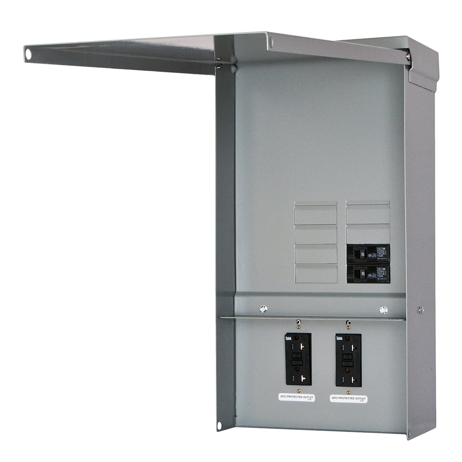 Siemens TL77US Talon Temporary Power Outlet Panel with Two 20-Amp Duplex Receptacles Installed, Unmetered