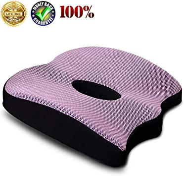 with Gel /& Non-Slip Bottom /& Fixing Strap Design 100/% Memory Foam Coccyx Seat Cushion for Tailbone Pain Relief Sciatica Pain Relief Lisenwood Gel Seat Cushion Office Chair Car Seat Cushion