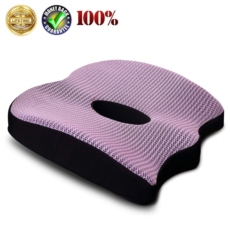 Uhealer Premium Comfort Seat Cushion Non-Slip Orthopedic Memory Foam Coccyx Cushion for Tailbone Pain Cushion for Office Chair Car Seat Back Pain Sciatica Relief Gel Seat Cushion (Purple)