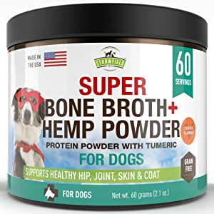 Strawfield Powdered Bone Broth for Dogs - 60 Servings, Chicken - Dog Food Topper w/Organic Turmeric, Hemp Protein Powder, Pumpkin, Glucosamine Chondroitin for Joint Support Arthritis Pain Relief, USA