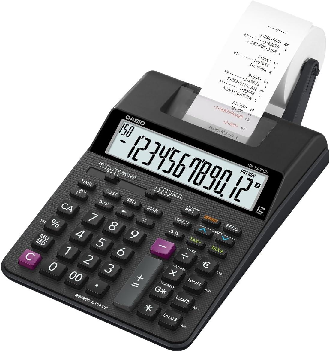 Casio HR-150RCE - Calculadora impresora, 6.5 x 16.5 x 29.5 cm, color negro