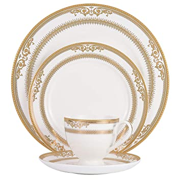 JXHD Vajilla De Porcelana Completa Set -Creativo Sencillo Blanco Y Dorado Cubiertos Occidentales Filete para Platos, Taza De Café Y Platillo: Amazon.es: ...