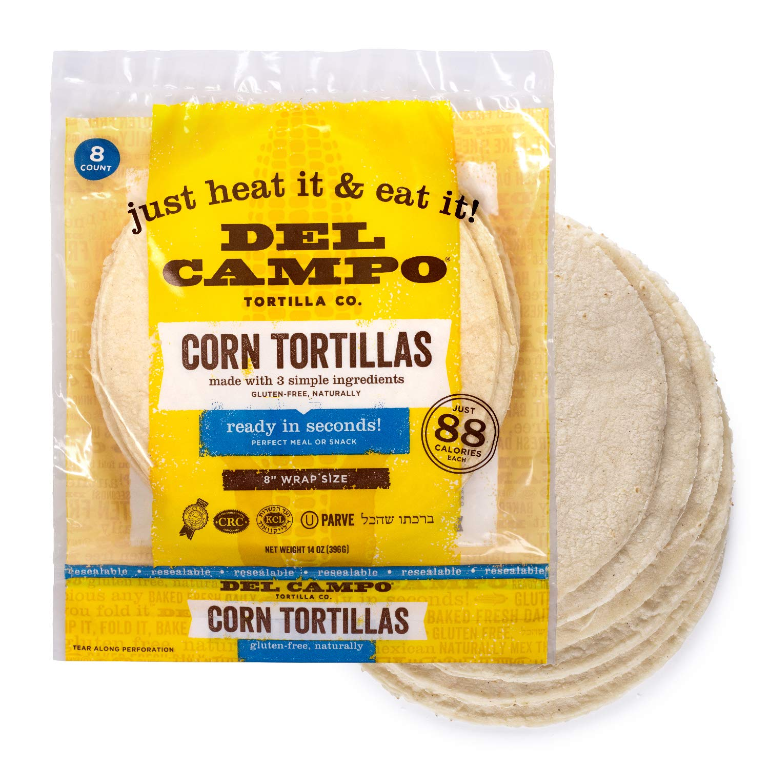 Del Campo Soft Corn Tortillas – 8 Inch Round. 100% Natural, Gluten Free and All-Corn Authentic Mexican Food. Many Serving Options: Wraps, Tacos, Quesadillas or Burritos, Kosher. (8ct.) (Single)