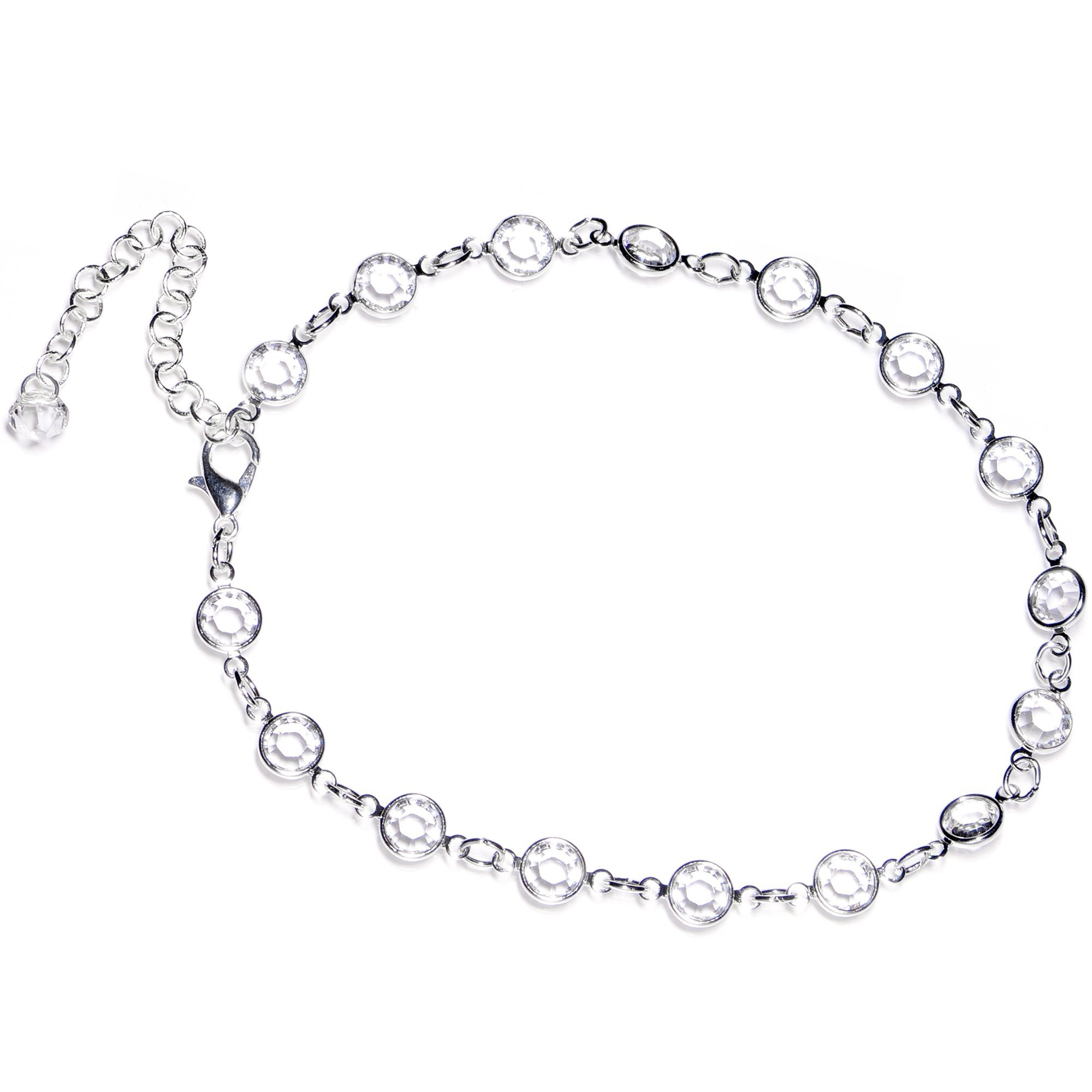 Body Candy Handcrafted Clear Accent Adjustable Anklet Created with Swarovski Crystals