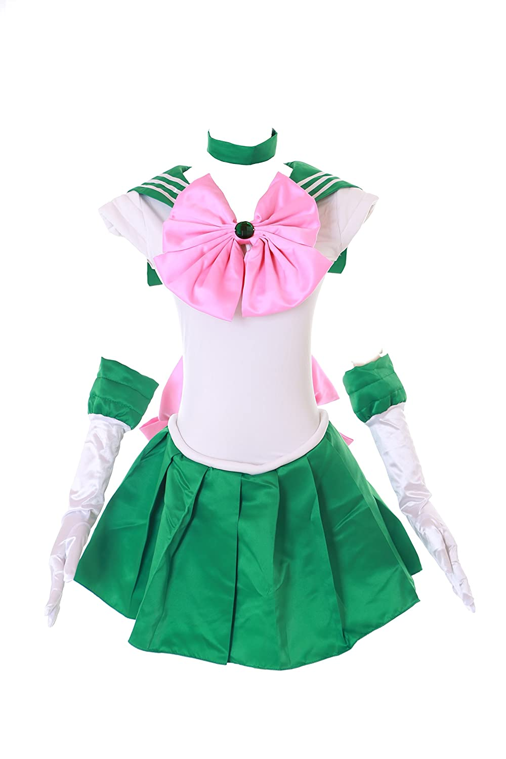 H-6002 Jupiter Jupiter Jupiter Crystal Sailor Moon Grün Weiß Cosplay Kleid Handschuhe Set dress Kostüm costume Kawaii-Story ed757f