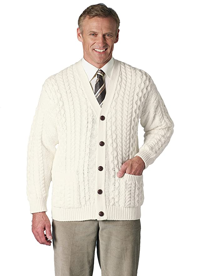Men's Vintage Sweaters – 1920s to 1960s Retro Jumpers Mens Aran Style Knitwear Cardigan �32.00 AT vintagedancer.com