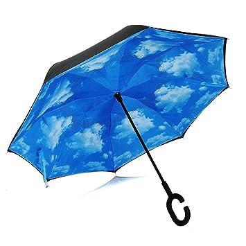 Paraguas invertido de doble capa, resistente al viento y a la lluvia, reverso plegable,