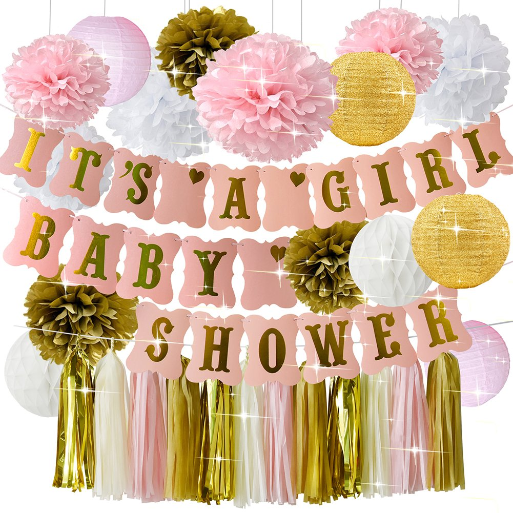 HappyField Baby Shower Decorations for Girl Pink Gold Baby Shower IT/'S A Girl Banner Tissue Pom Poms Paper Lanterns Paper Honeycomb Balls Tissue Tassel Party Supplies