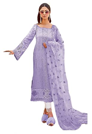 3ecf0cc4be Madeesh Pakistani Suit for Women, Party Wear, Cambric Cotton, Heavy  Embroidery Patch Work