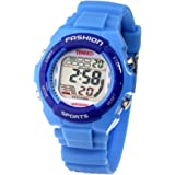 Time100 Montre Digitale Femme Fille Etanche et Homme Garçon Bracelet PU LCD Sport Multifonctionnelle Dateur Chronomètre Reveil bleu clair - W40011L.01A