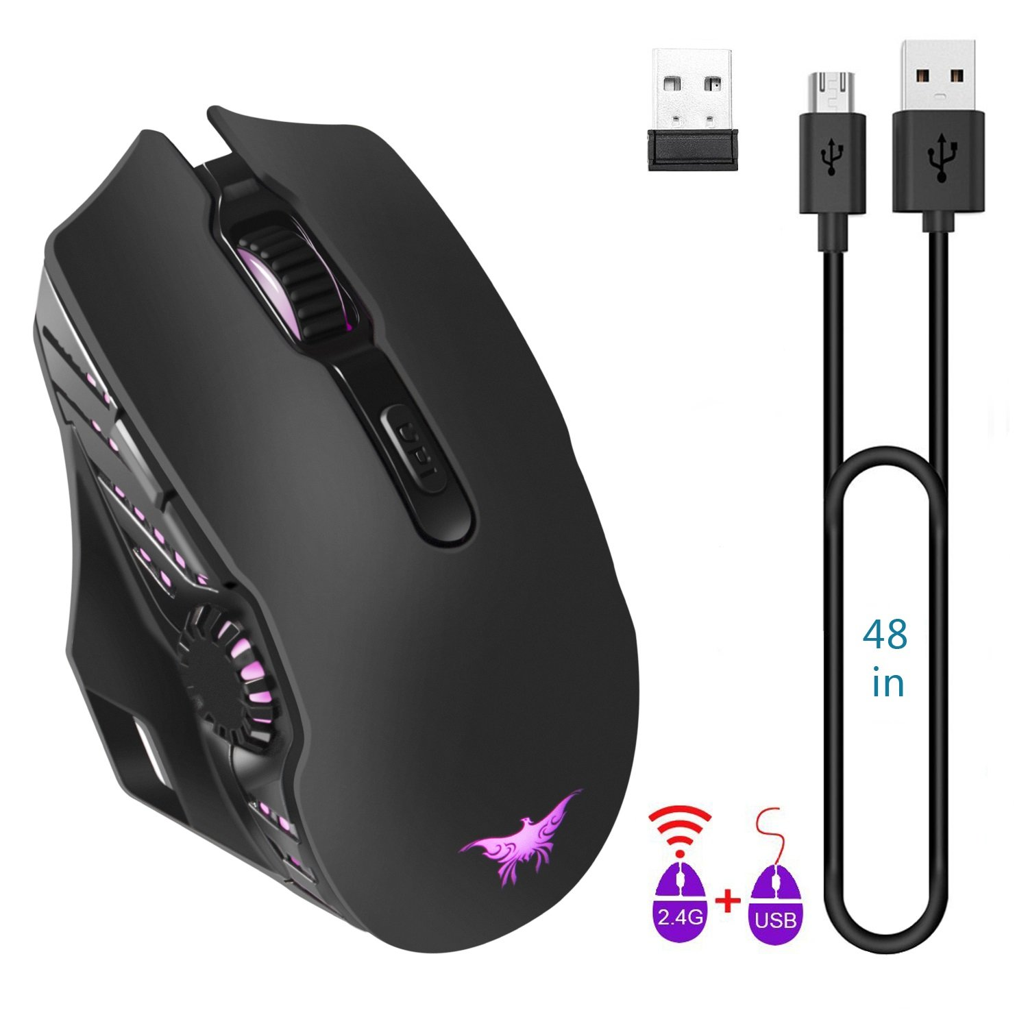 JinSun Rechargeable Laptop Wireless Gaming Mouse 2 in 1 Wireless & Wired Optical Mice with USB, 5 Buttons, 6 Colors Breathing Lights for PC and Mac, 6 Adjustable DPI Levels for Laptop Mac Pro and PC