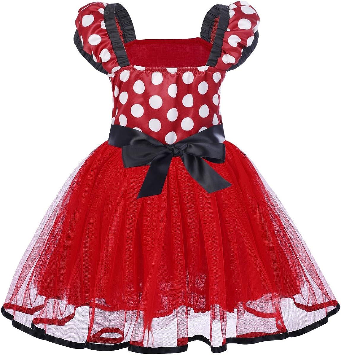 IBTOM CASTLE Girls Polka Dots Princess Party Cosplay Pageant Fancy Costume Tutu Birthday Dress up+Ears Headband