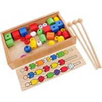 MagiDeal Montessori Early Wooden Toy Kids Child Stacking Beads Building Learning Toy