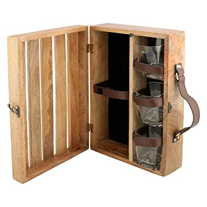 Velleitie Wooden Bar Set   Portable Travel Bar Set - Natural Glassware & Drinkware at amazon
