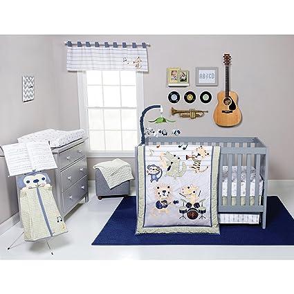 Amazon.com: Trend Lab Safari Rock Band Multicolored Animal Fitted Crib Sheet, White: Baby