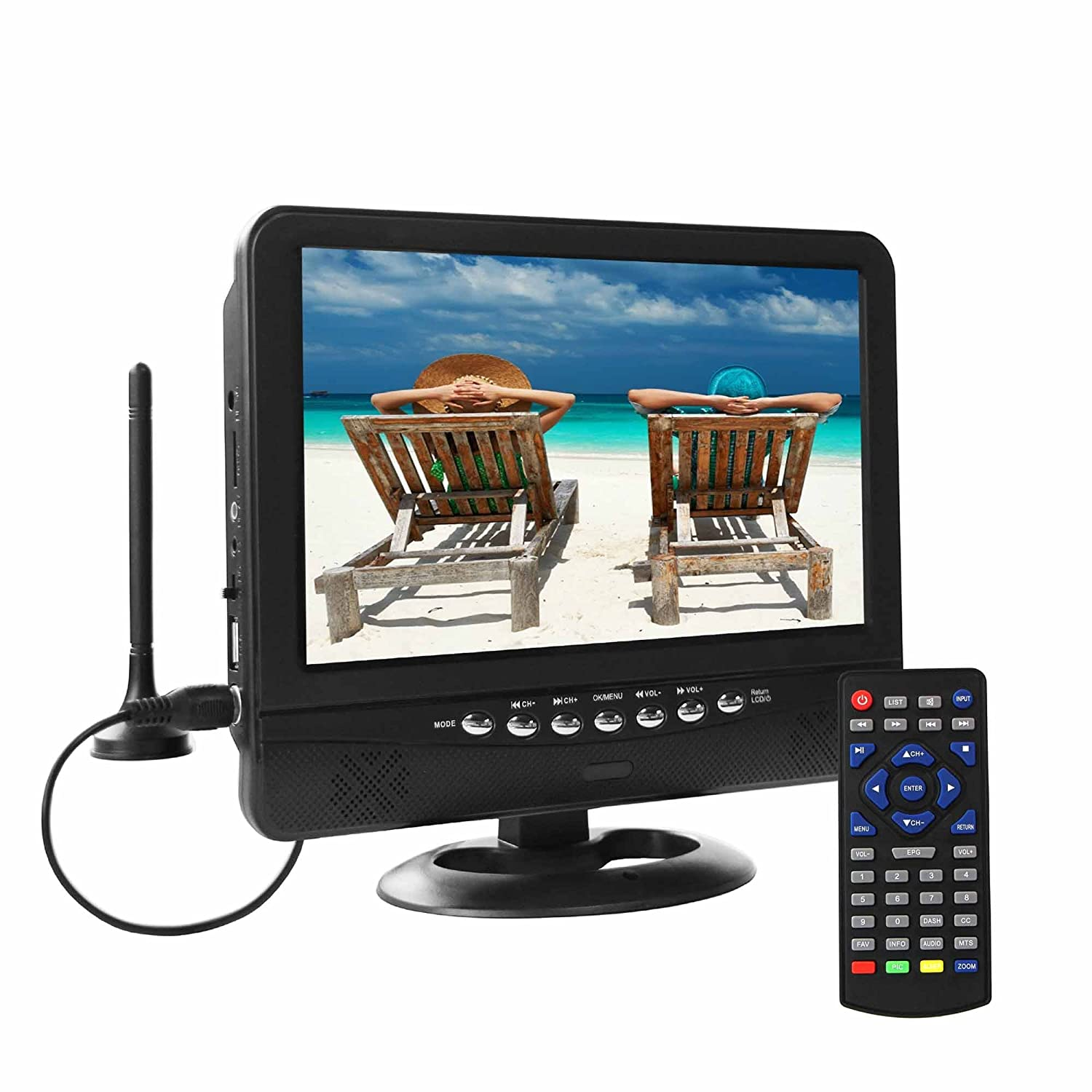 GJY 9-Inch Portable TV, Features ATSC TV Tuner+NTSC,USB/TF/Headphone Inputs, Full Function Remote with Mini TV,Automotive Mobile TV NS-901D