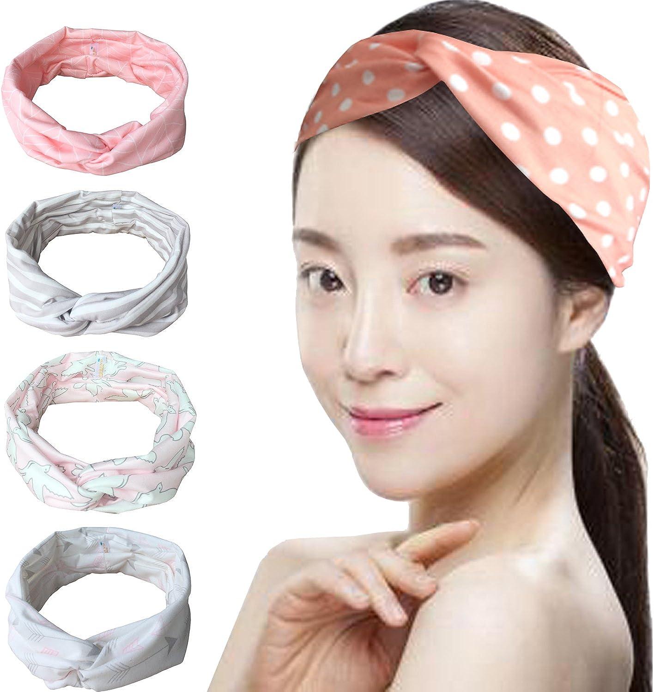 Vellette Cinta de cabeza Turbantes Mujer Venda De Pelo Elástica Cinta Para El Pelo Accesorio Para Cabeza 4Pcs