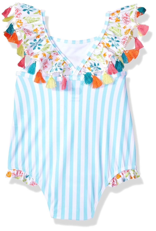 Mud Pie Baby Girls Flamingo Tassel One Piece Swimsuit