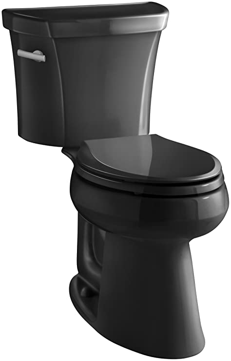 Outstanding Kohler K 3889 7 Highline Comfort Height 1 28 Gpf Toilet 10 Inch Rough In Black Black Theyellowbook Wood Chair Design Ideas Theyellowbookinfo