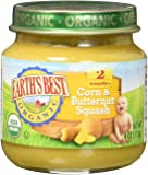 Earth's Best Organic Stage 2, Corn & Butternut Squash, 4 Ounce Jar (Pack of 12)