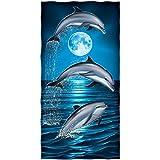 Dolphins Moon Cotton Beach Towel