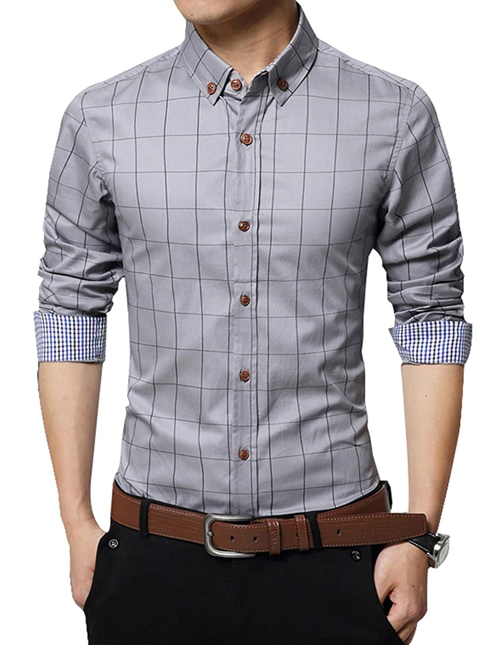 Erztiay Mens Formal Business Plaid Slim Fit Long Sleeve Dress