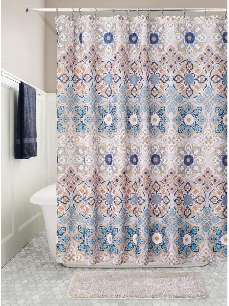 Easy Care Fabric Shower Curtain with Reinforced Buttonholes Stalls and Bathtubs Tan//Shades of Blue mDesign Decorative Medallion Print 72 x 72 Machine Washable for Bathroom Showers