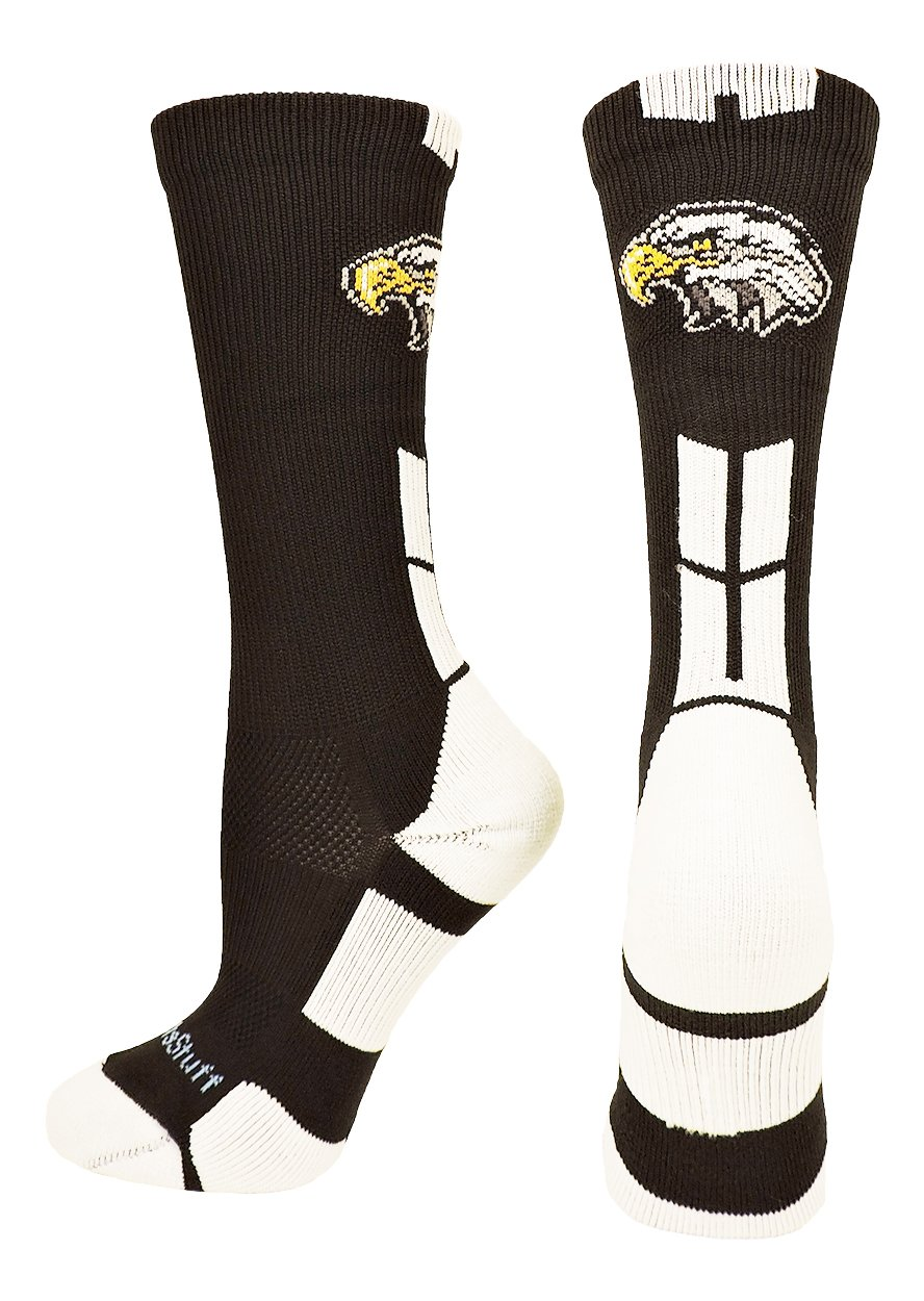 MadSportsStuff Eagles Logo Athletic Crew Socks (Black/White, Small) by MadSportsStuff