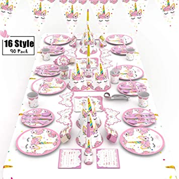 XREXS Unicorn Party Supplies 16 Stile 90 Packungen Birthday Pack Geburtstag Partydekorationen