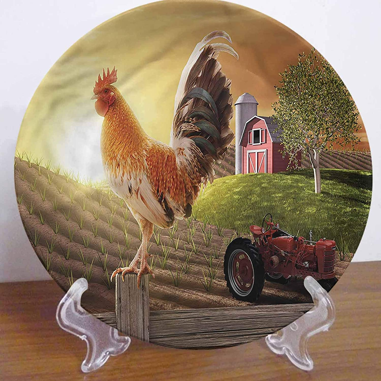 LCGGDB 8 Inch Country Pattern Decorative Ceramic Wall Plate,Rooster Early Morning Bird Dinner Plate Microwave & Dishwasher Safe for Home Decor