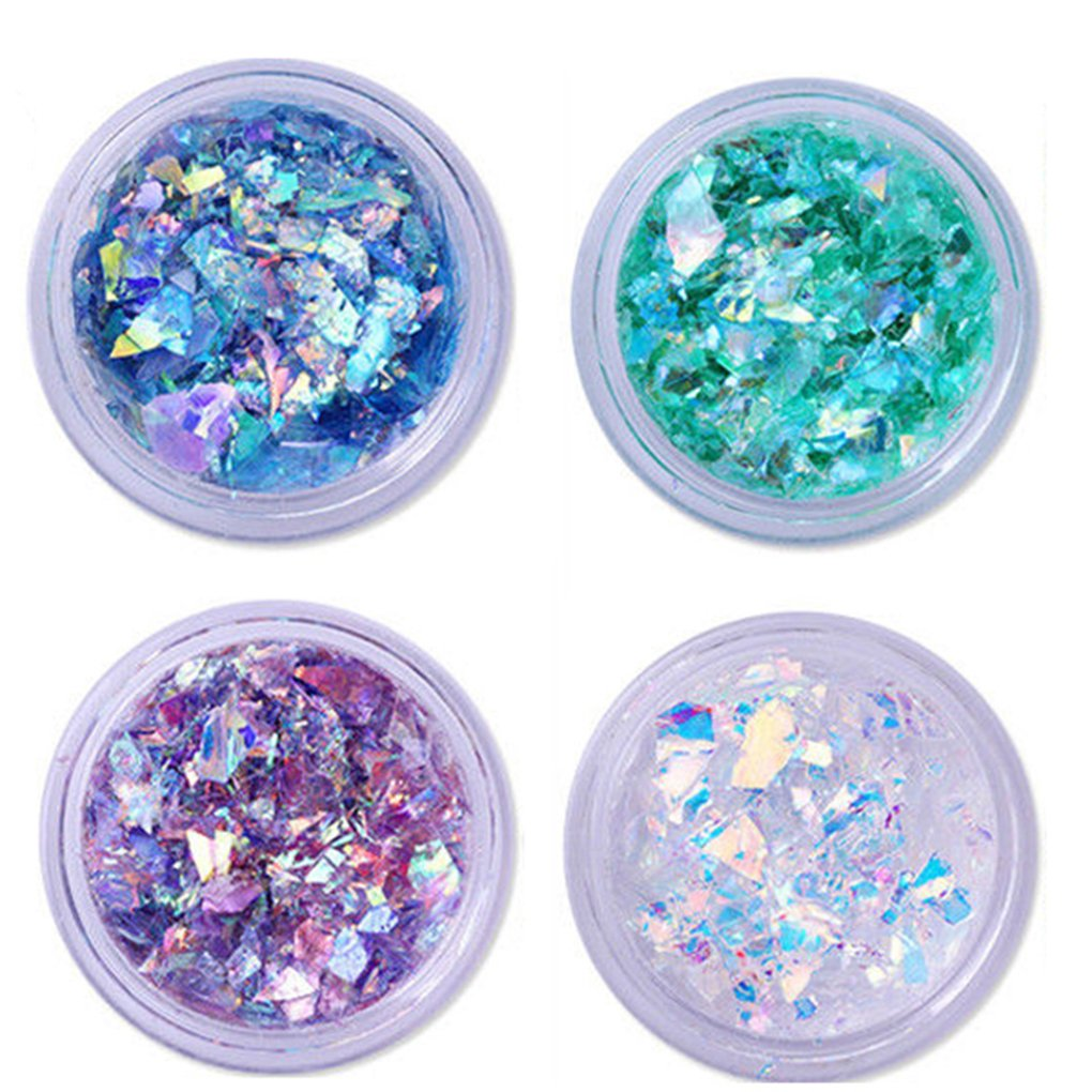 4 Boxes Nail Art Decorations Giltter Sequines Glass Paper Dust Powder Nail Art Salon Tool Set Bodhi2000