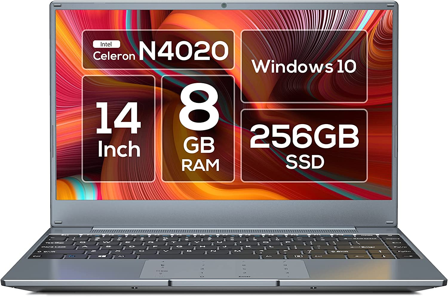 """Vastking 14"""" Windows 10 Laptop Computer, 8GB RAM 256GB SSD, Celeron N4020, up to 2.8 GHz, FHD 1920 x 1080 Display, Compact Design, 5G WiFi, NumberPad, Type C, Supports 128GB SD Card, Silver Gray"""
