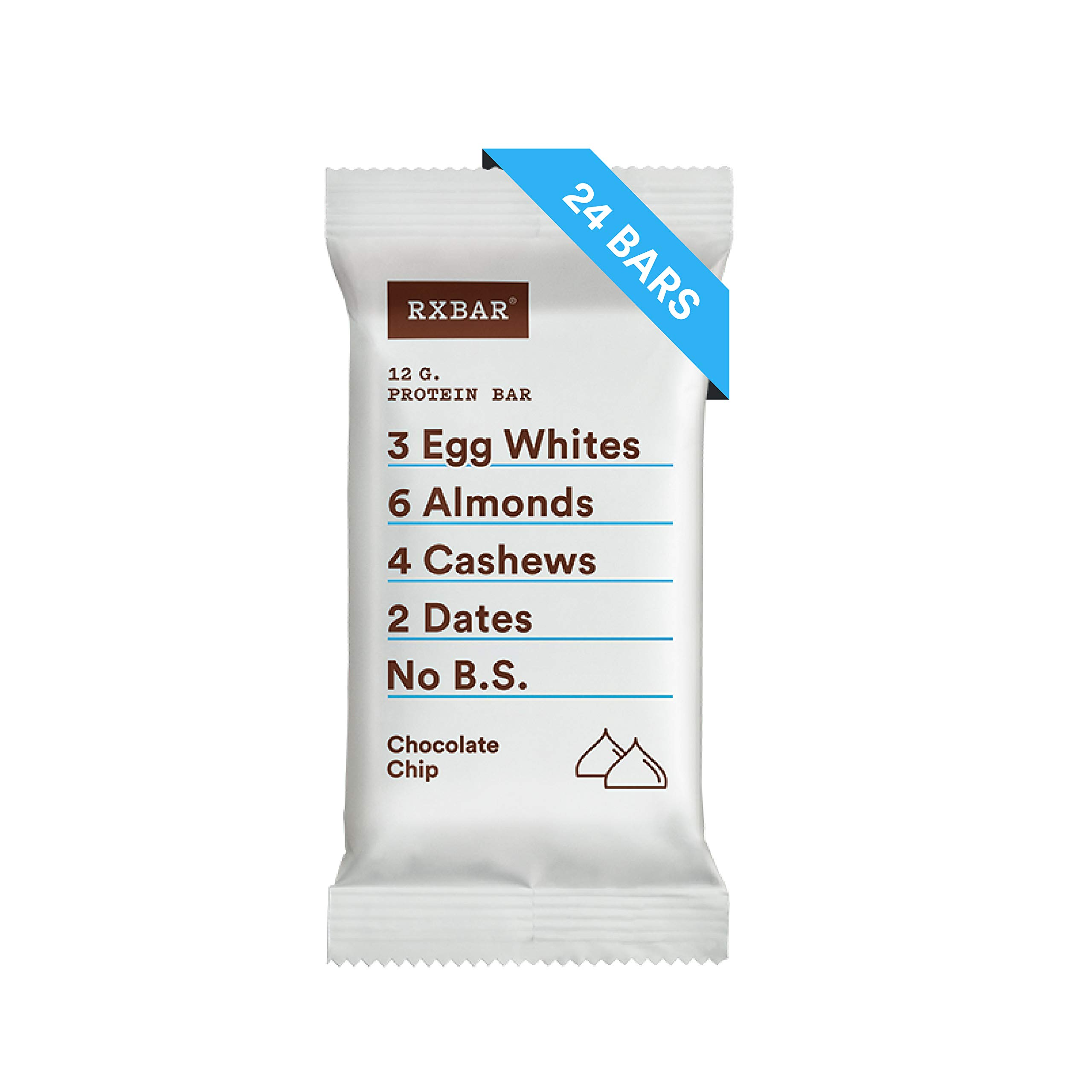 RXBAR Whole Food Protein Bar, Chocolate Chip, 1.83oz Bars, 24 Count