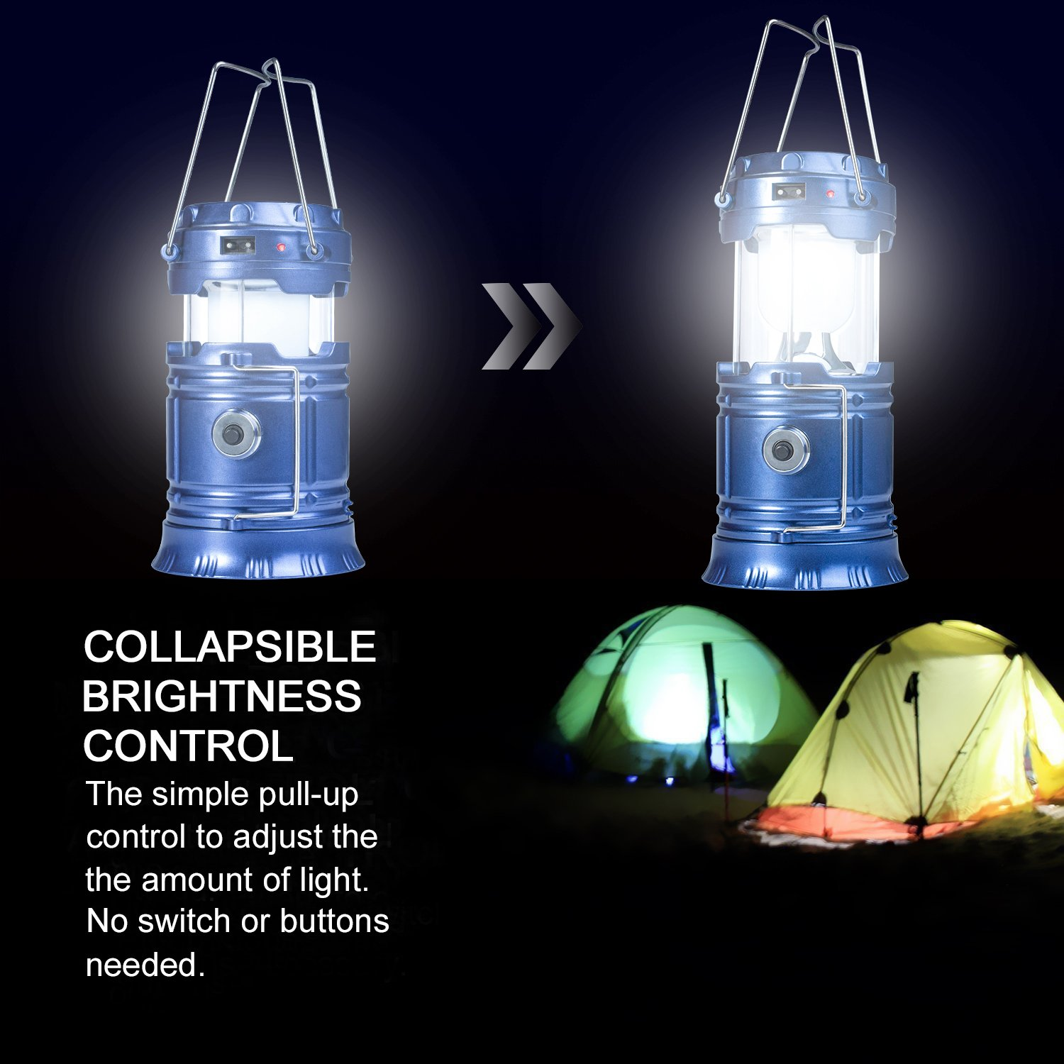 YIEASY Solar Camping Lanterns, 2 Pack Led Rechargeable Lantern Flashlight for Hurricane, Power Outages, Emergency, Collapsible and Portable (Blue) by YIEASY (Image #4)