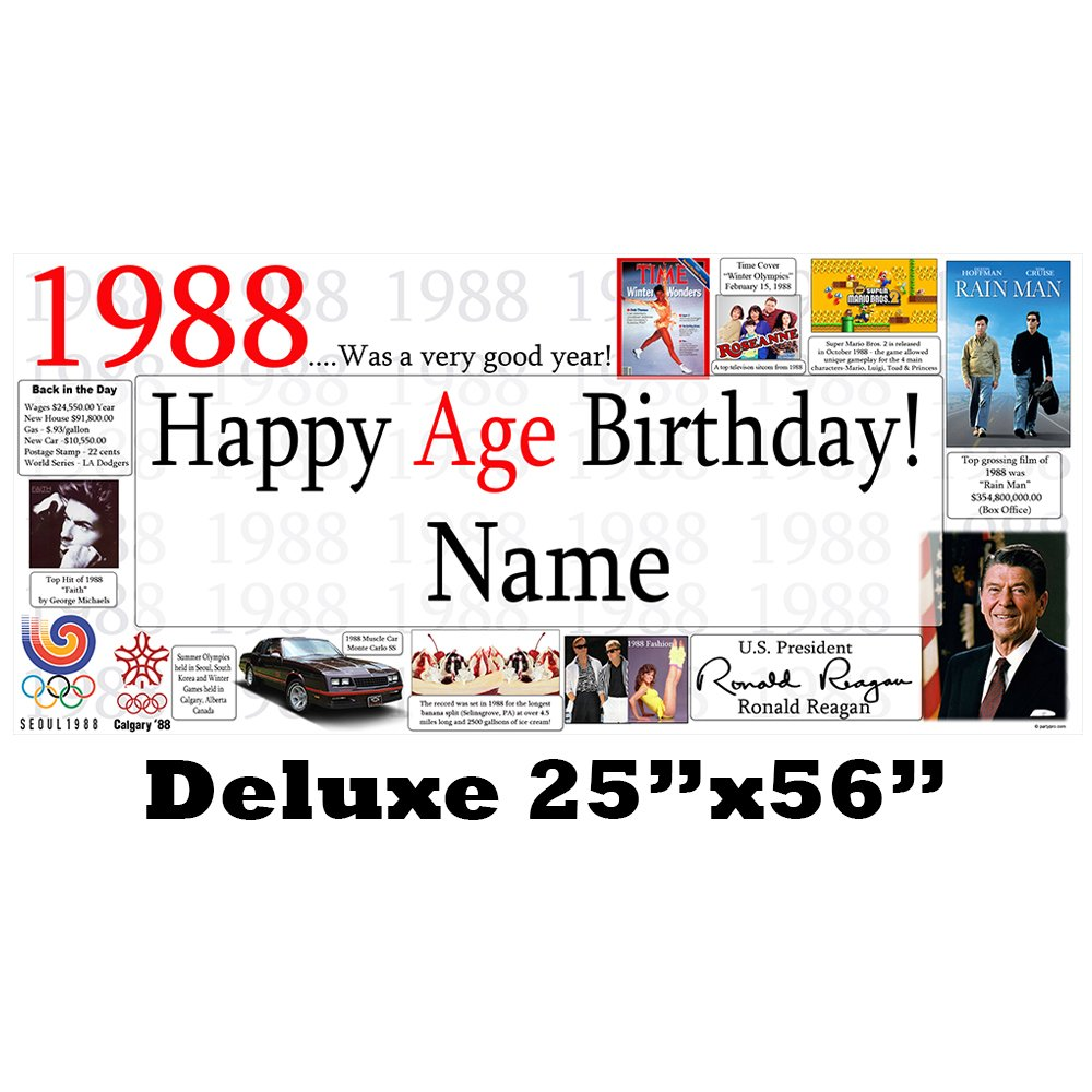 1988 30th Birthday Deluxe Personalized Banner by Partypro