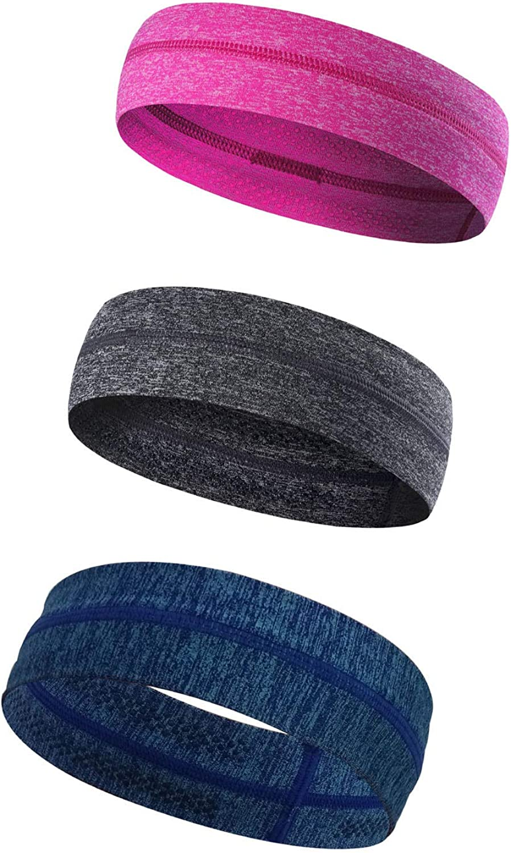 3 PCS Schwei/ßband rutschfest atmungsaktiv langlebig hohe elastische Kopfband f/ür M/änner und Frauen Joggen Radfahren Yoga Outdoor Sport QKURT Reflektierende Sport Stirnband