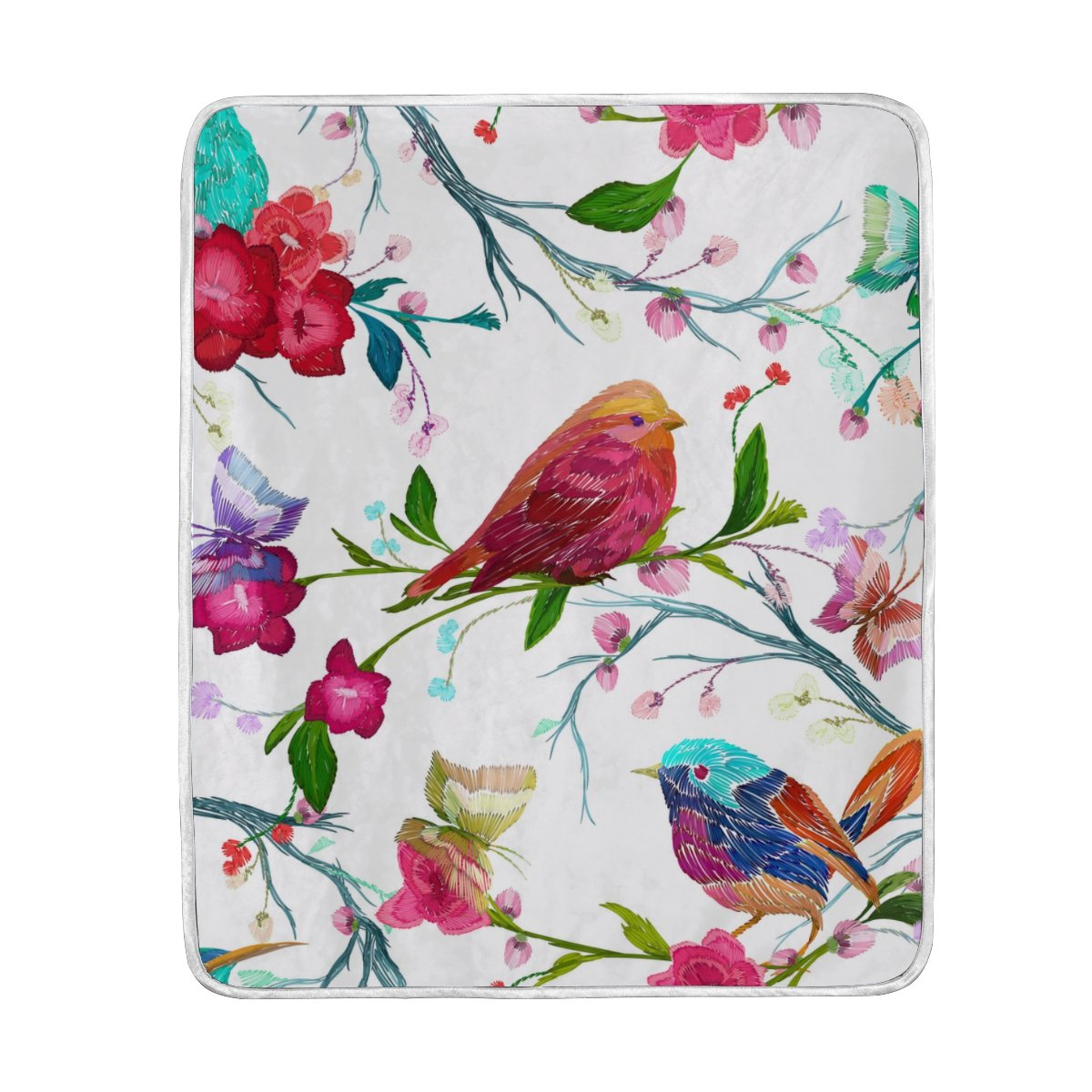 My Little Nest Warm Throw Blanket Vintage Bird Butterfly Lightweight MicrofiberSoft Blanket Everyday Use for Bed Couch Sofa 50'' x 60''