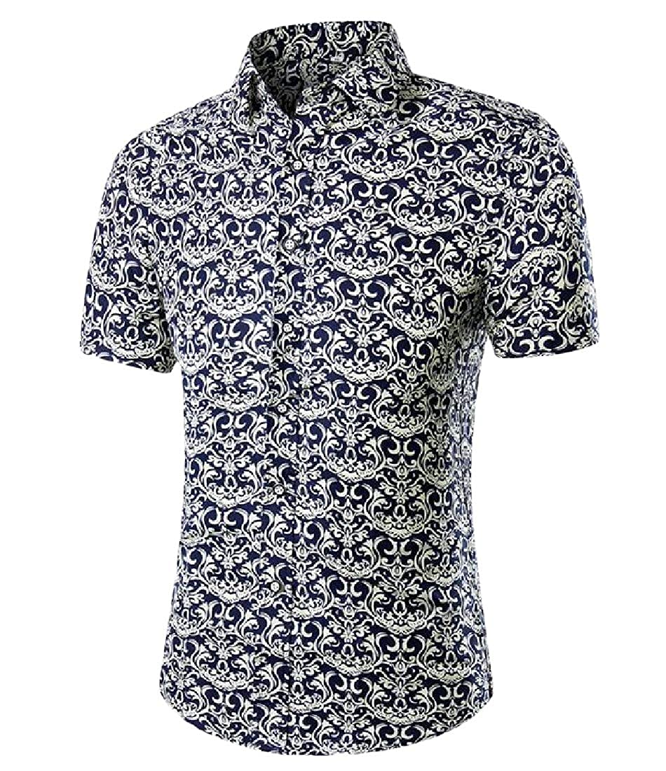 Sweatwater Mens England Slim Fit Lapel Printed Short Sleeve Button-Down Shirts
