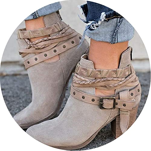 Women Boots Casual Ladies Boots Suede Leather Buckle Boots High Heeled Zipper Snow Boot,Gray