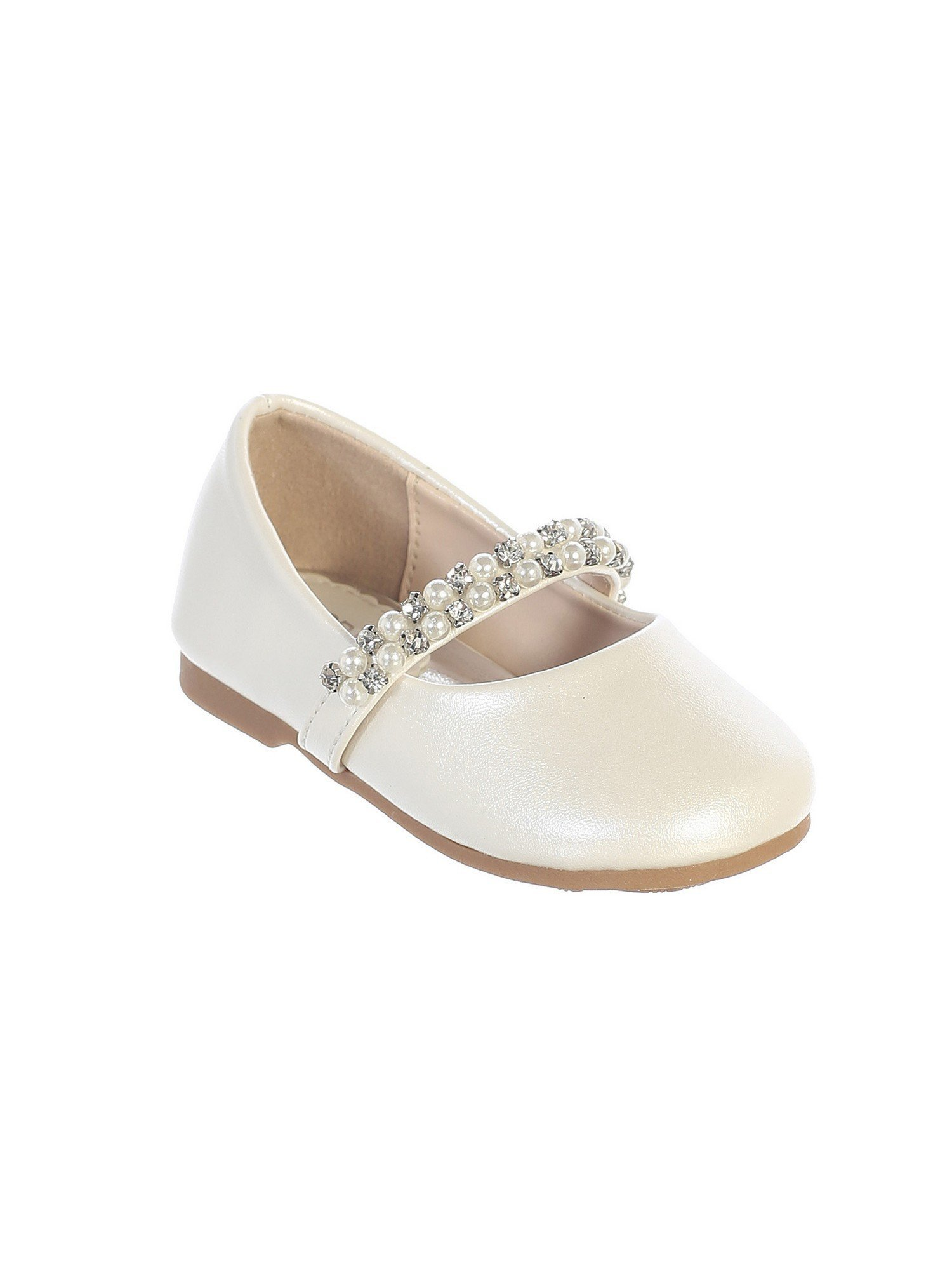 Little Girls Ivory Rhinestone Pearl Strap Elegant Mary Jane Shoes 8 Toddler