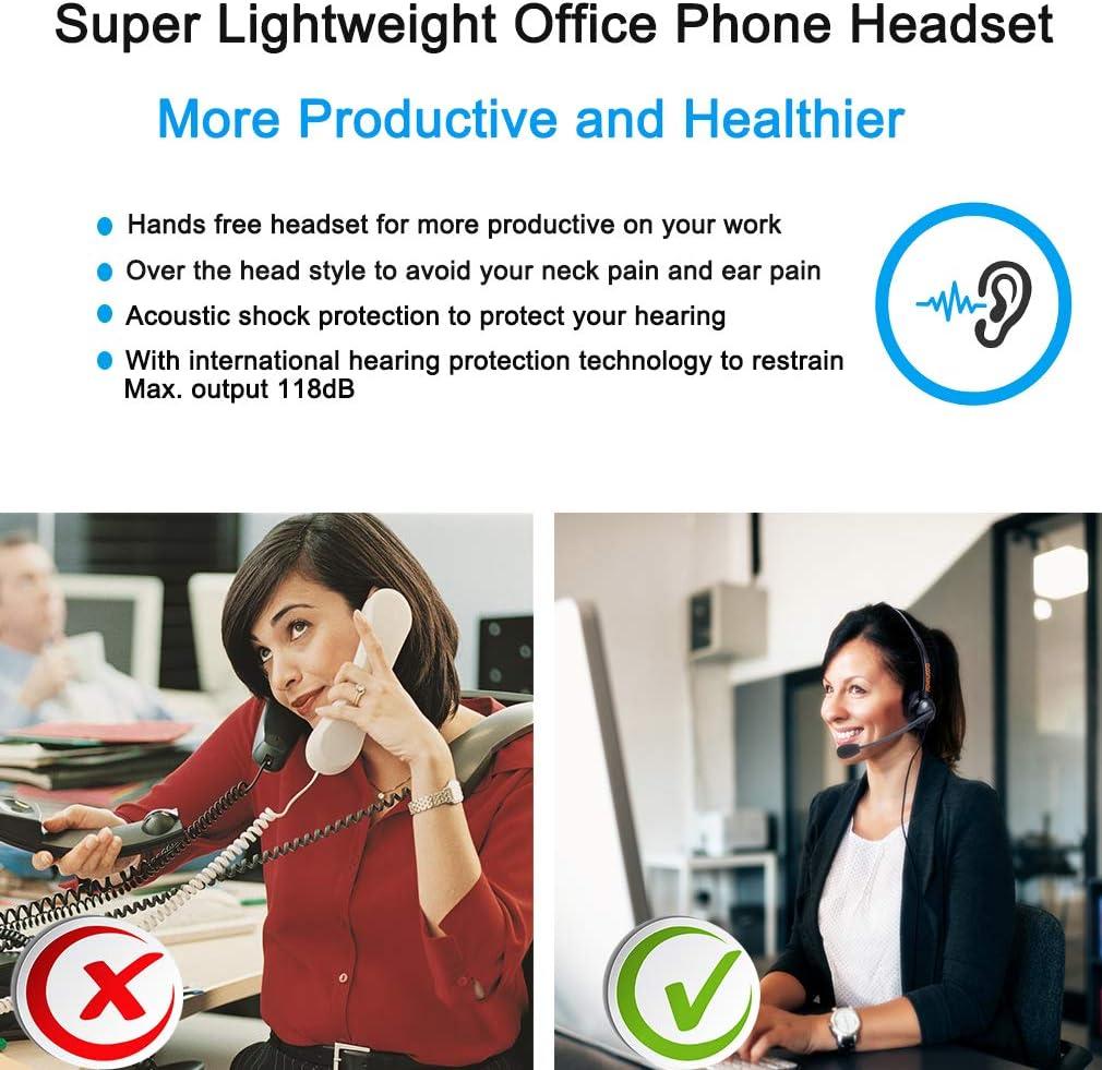 Telephone Headphone with Noise Canceling Mic Phone Headset One Ear for Landline Phone for Polycom VVX311 VVX410 VVX411 VVX500 Mitel 5220e 5330e 5330 5340 Avaya 1408 1416 5410 ShoreTel 230 420 480 NEC