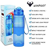 WINPOST Sport Water Bottle,500ml&700ml&1000ml-BPA Free Eco-Friendly Tritan Plastic Bottle with Filter,Flip Top,Opens with 1-Click,Reusable with Leak Proof Lid- For Camping,Running,Gym,Yoga