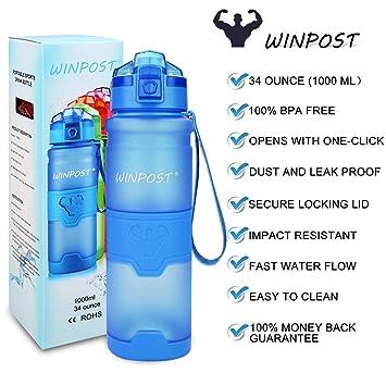 Botella de Agua Deporte 500ml/700ml/1l, sin bpa tritan plastico, Reutilizables