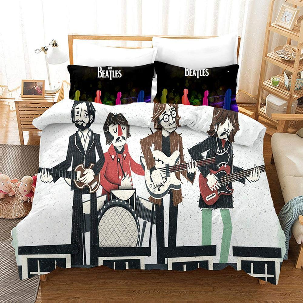 Duvet Cover Sets 3D The Beatles Printing Christmas Child Adult Bedding Set 100% Polyester Duvet Cover 3 Pieces with 2 Pillowcases B-EU King240x220cm