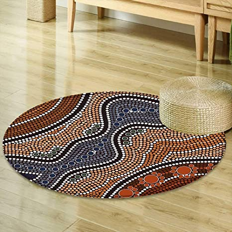 Amazon Com Mikihome Round Area Rug Art Aboriginal Style Of Dot